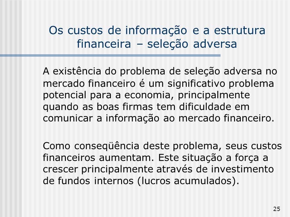 Os custos de informação e a estrutura financeira – seleção adversa