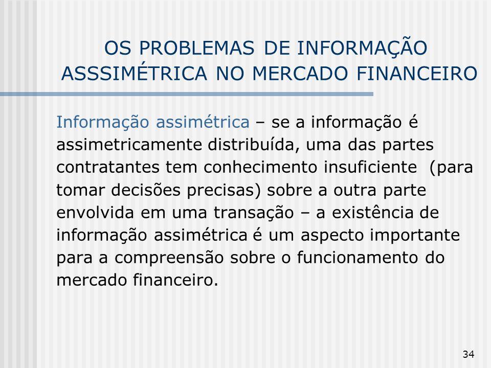 OS PROBLEMAS DE INFORMAÇÃO ASSSIMÉTRICA NO MERCADO FINANCEIRO