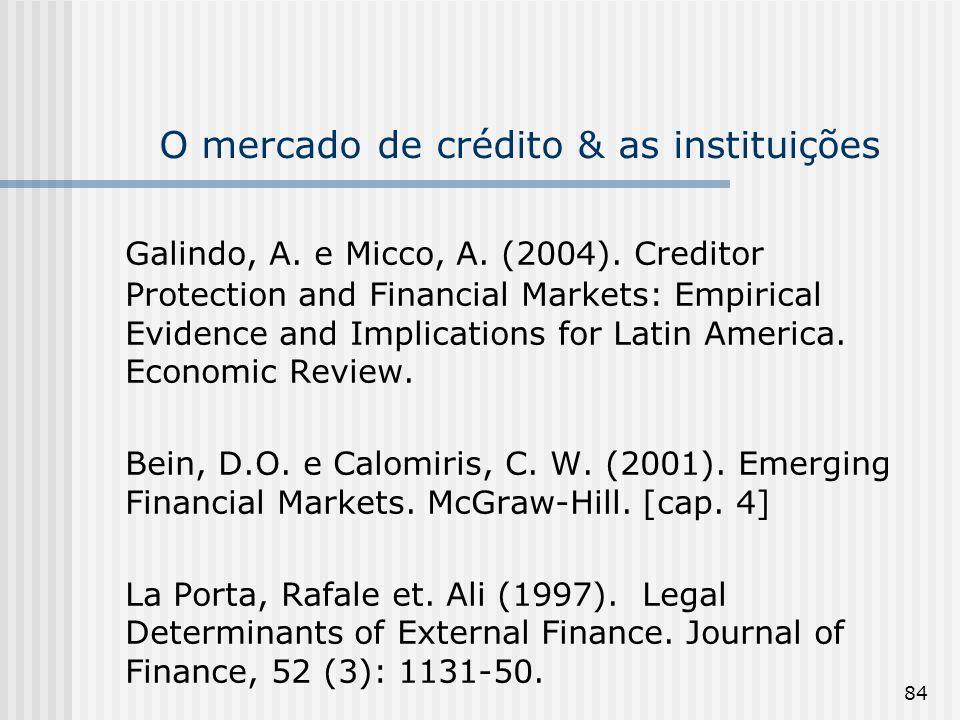 O mercado de crédito & as instituições
