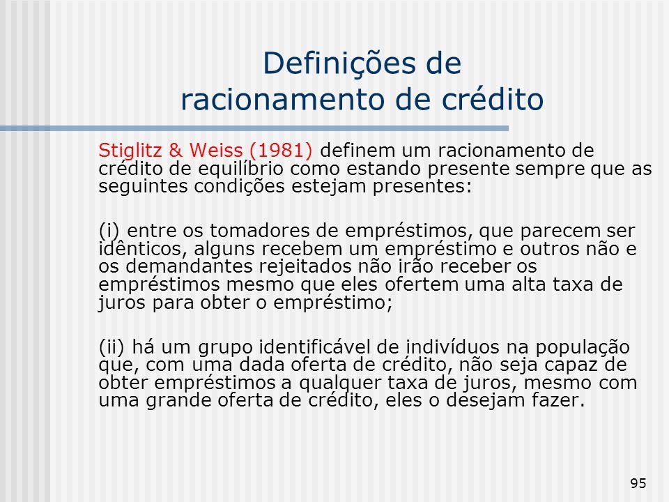 Definições de racionamento de crédito