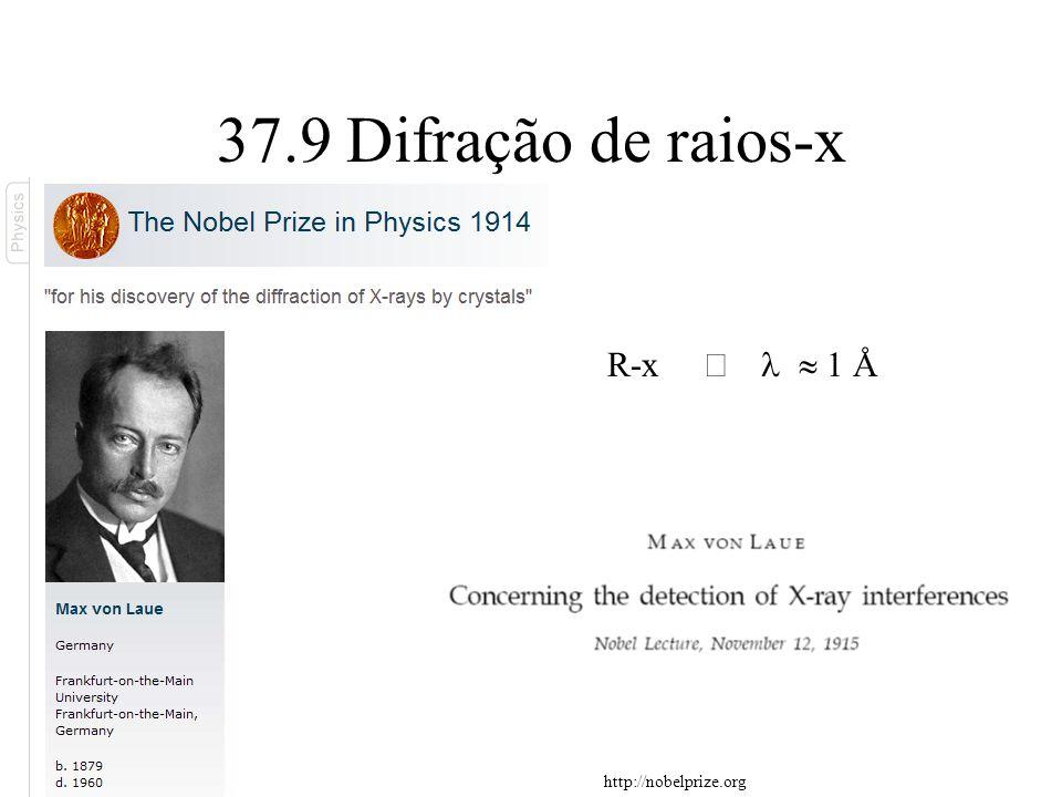 37.9 Difração de raios-x R-x Þ l » 1 Å http://nobelprize.org