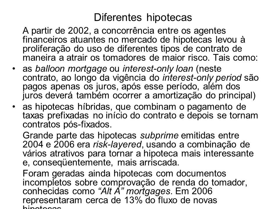Diferentes hipotecas