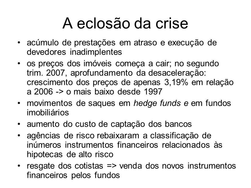 A eclosão da crise acúmulo de prestações em atraso e execução de devedores inadimplentes.