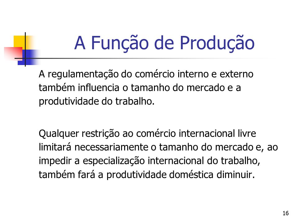 A Função de Produção A regulamentação do comércio interno e externo também influencia o tamanho do mercado e a produtividade do trabalho.