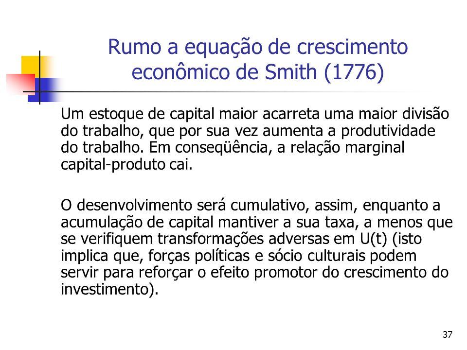 Rumo a equação de crescimento econômico de Smith (1776)