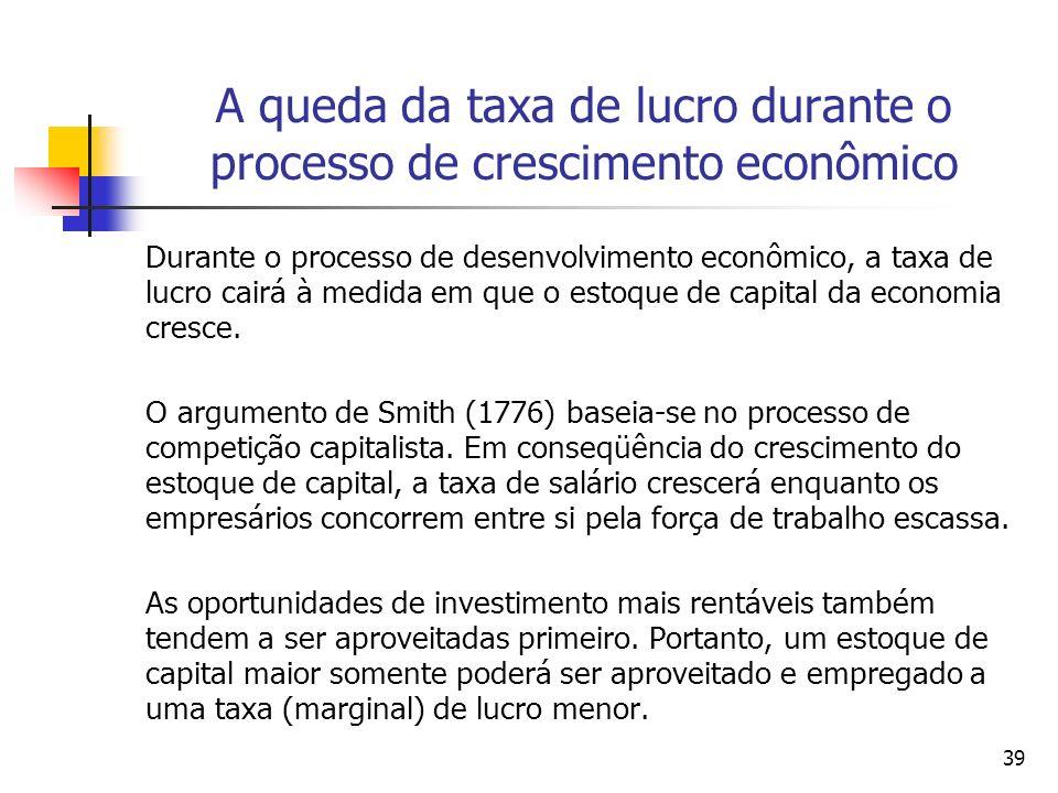 A queda da taxa de lucro durante o processo de crescimento econômico