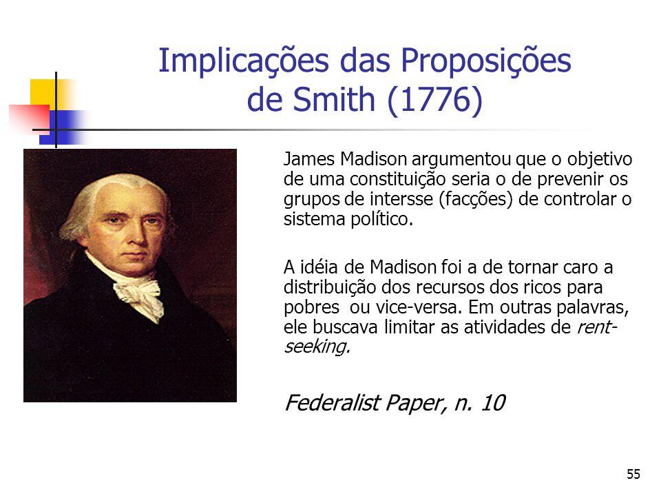 Implicações das Proposições de Smith (1776)