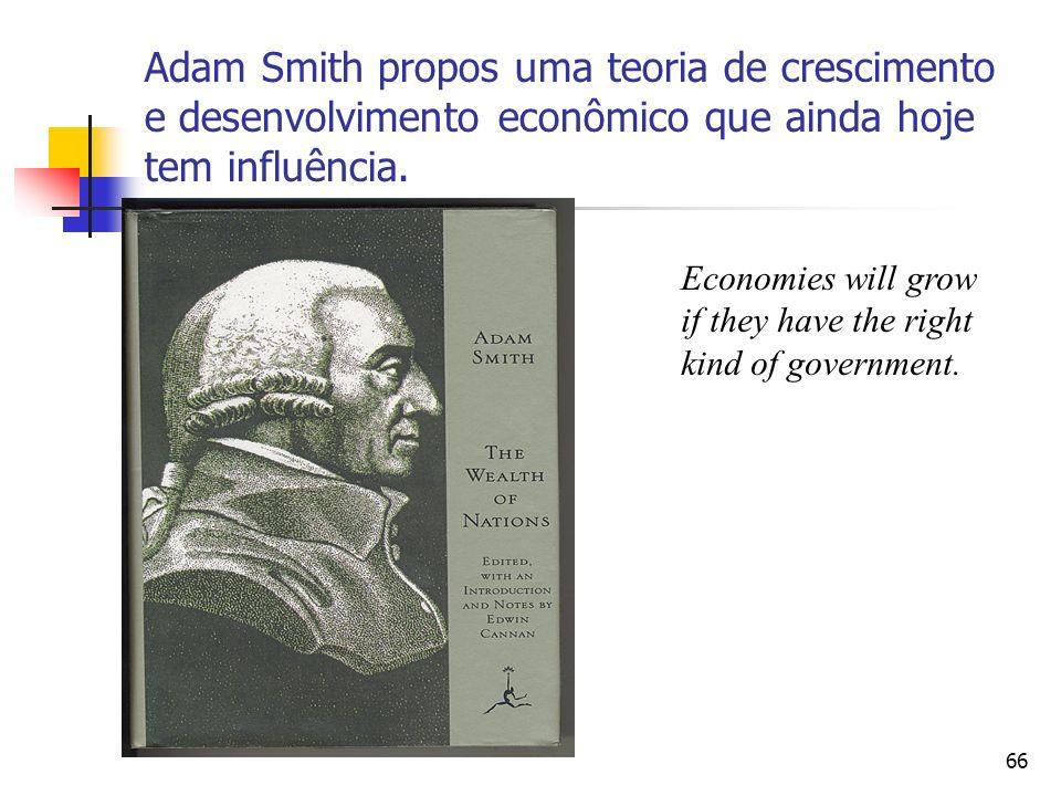 Adam Smith propos uma teoria de crescimento e desenvolvimento econômico que ainda hoje tem influência.