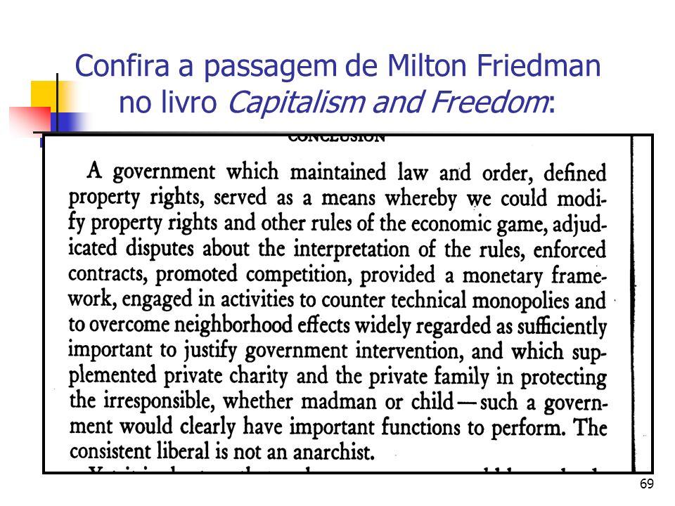 Confira a passagem de Milton Friedman no livro Capitalism and Freedom: