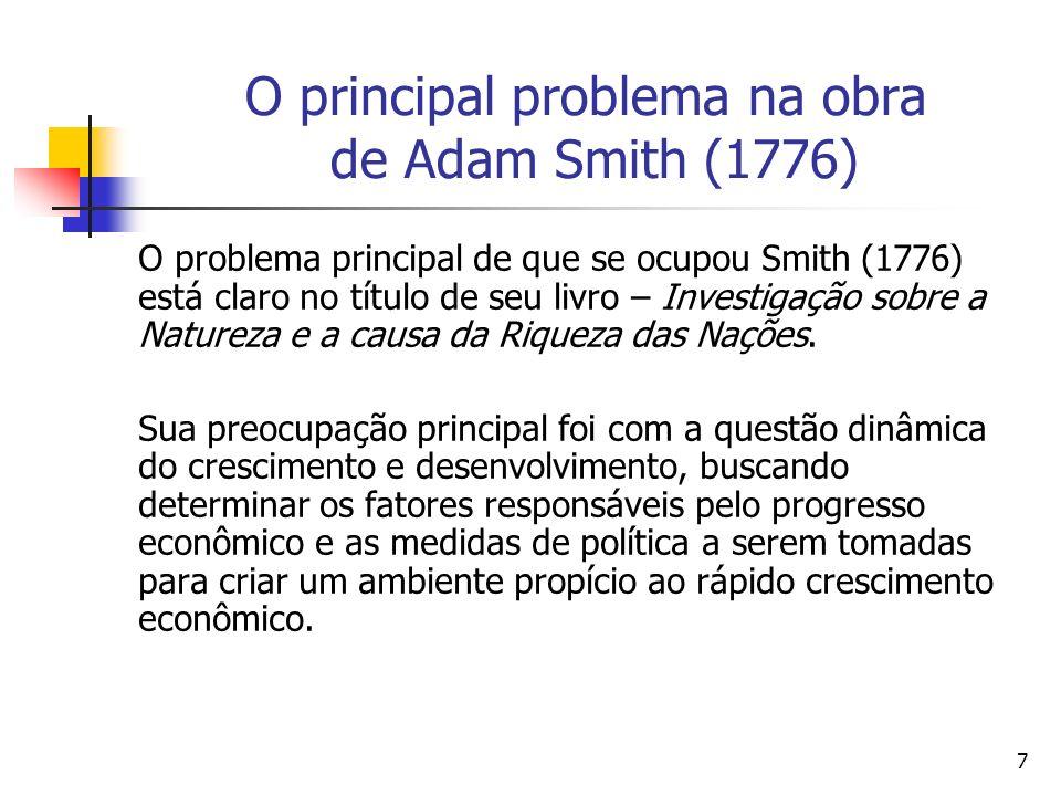 O principal problema na obra de Adam Smith (1776)