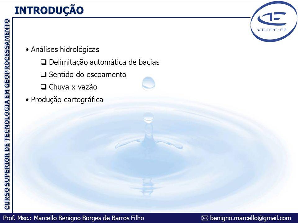 INTRODUÇÃO Análises hidrológicas Delimitação automática de bacias