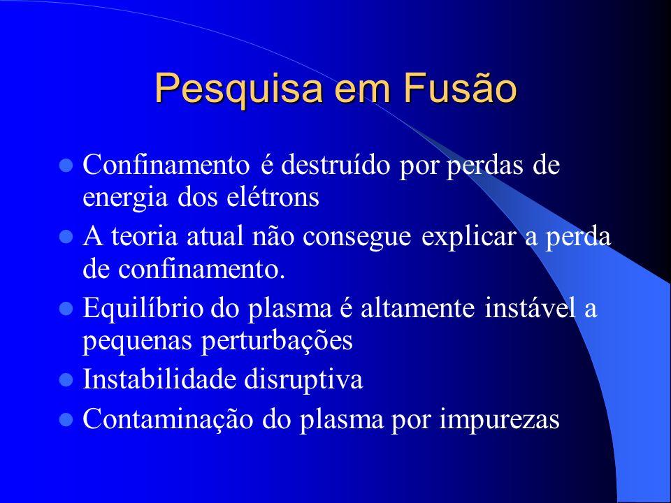 Pesquisa em FusãoConfinamento é destruído por perdas de energia dos elétrons. A teoria atual não consegue explicar a perda de confinamento.