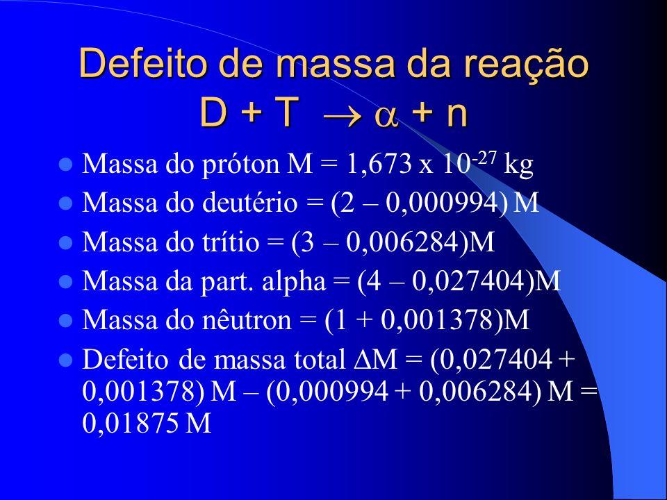 Defeito de massa da reação D + T   + n