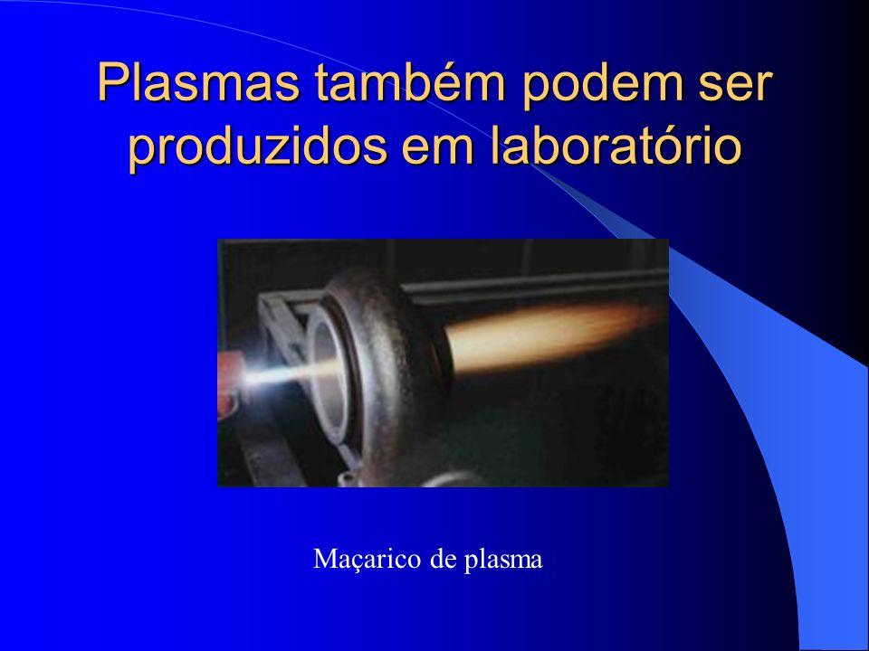 Plasmas também podem ser produzidos em laboratório