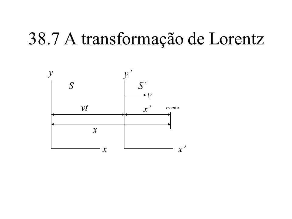 38.7 A transformação de Lorentz