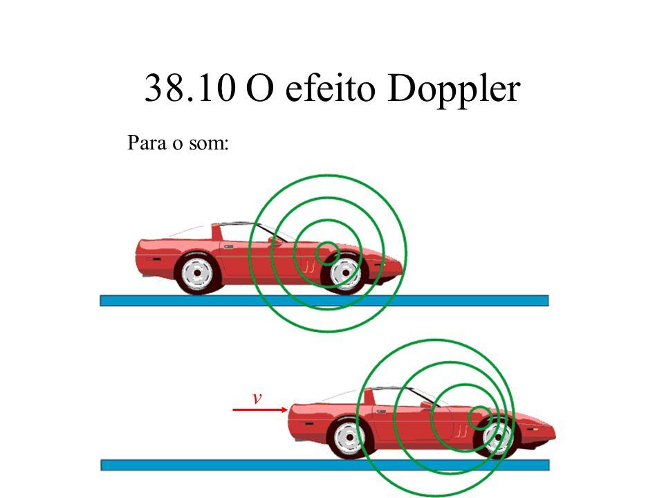 38.10 O efeito Doppler Para o som: v