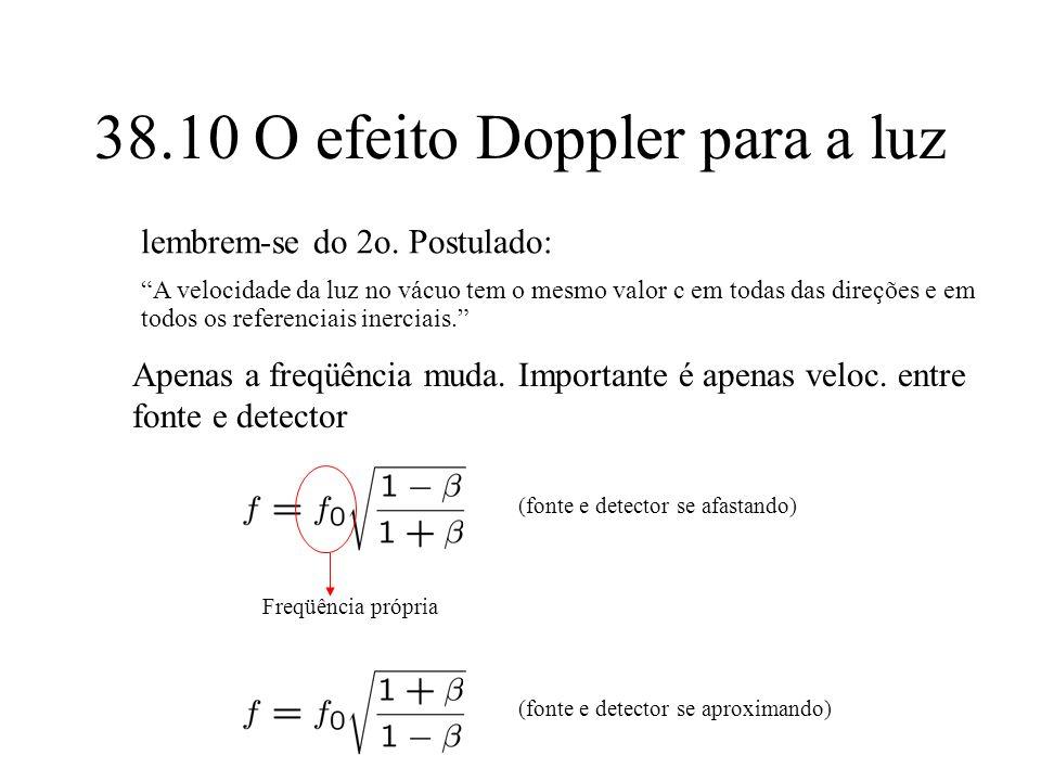 38.10 O efeito Doppler para a luz