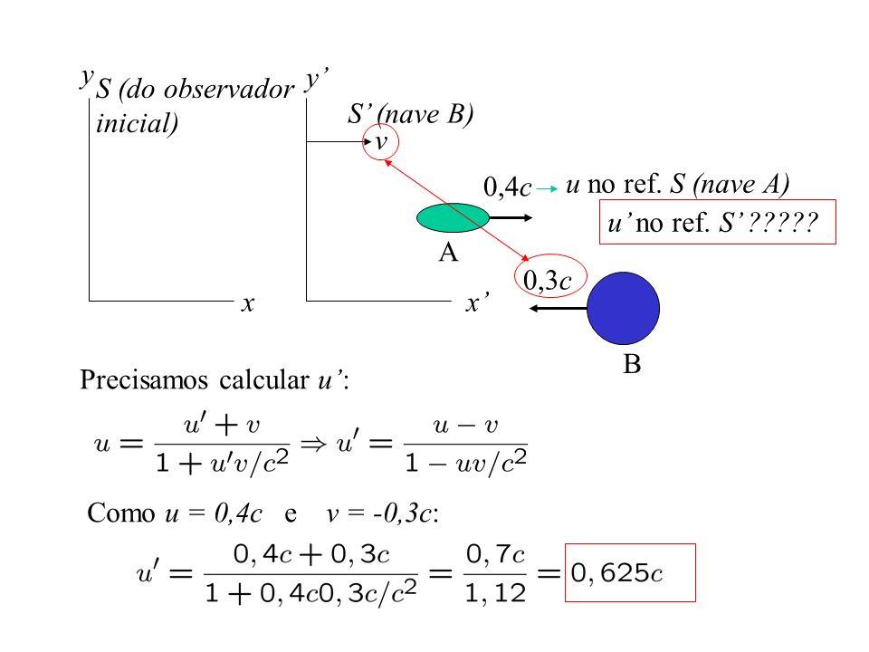 y y' S (do observador. inicial) S' (nave B) v. 0,4c. u no ref. S (nave A) u' no ref. S'