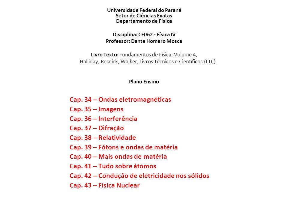 Disciplina: CF062 - Física IV Professor: Dante Homero Mosca