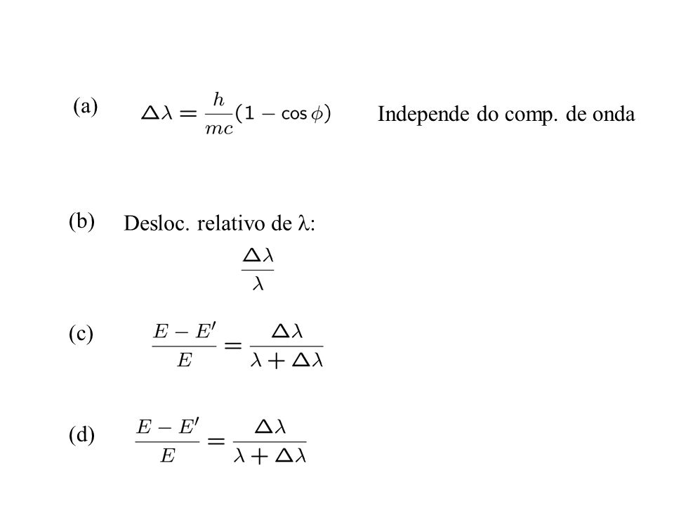 (a) Independe do comp. de onda (b) Desloc. relativo de l: (c) (d)