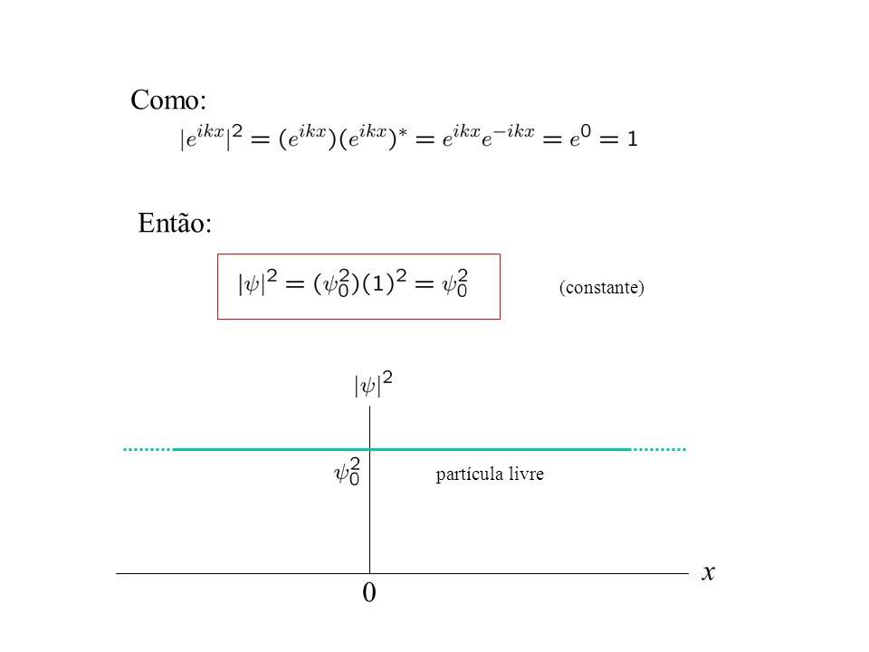 Como: Então: (constante) partícula livre x