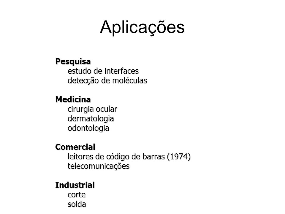 Aplicações Pesquisa estudo de interfaces detecção de moléculas