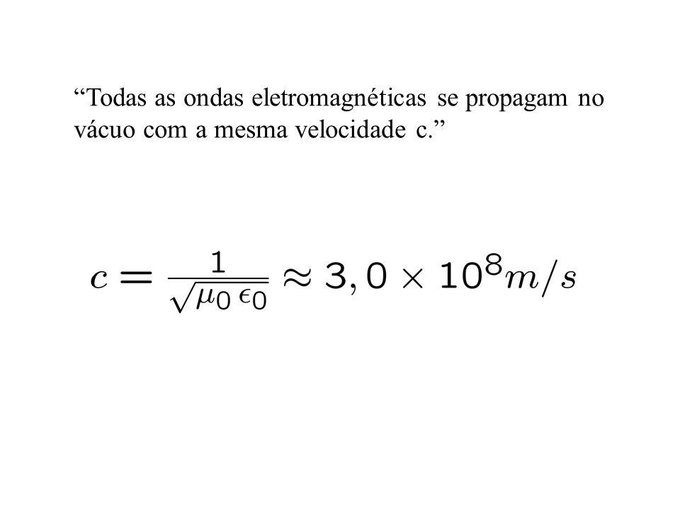 Todas as ondas eletromagnéticas se propagam no vácuo com a mesma velocidade c.