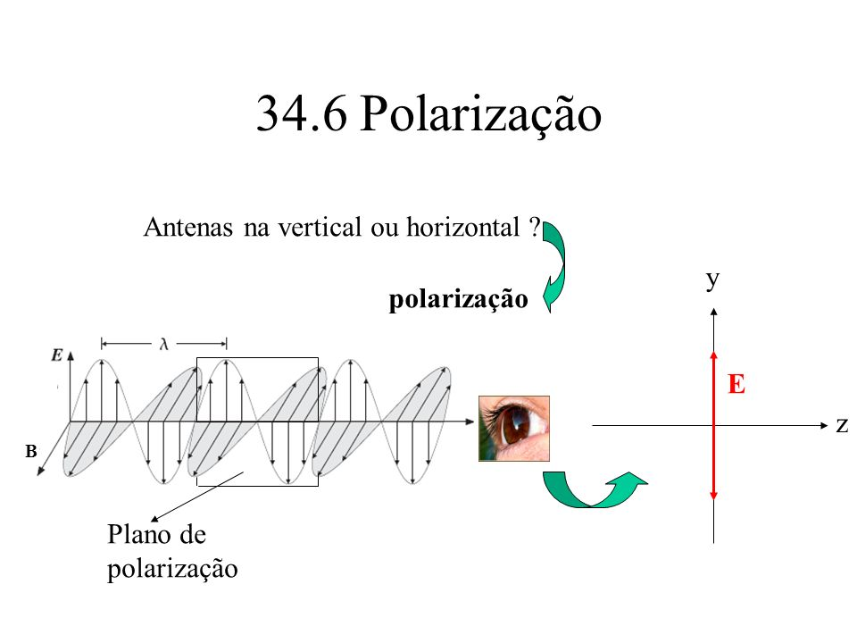 34.6 Polarização Antenas na vertical ou horizontal y polarização E z