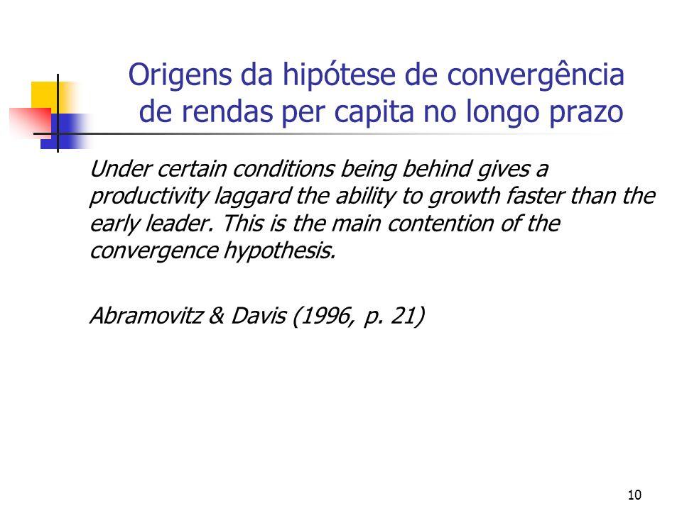 Origens da hipótese de convergência de rendas per capita no longo prazo