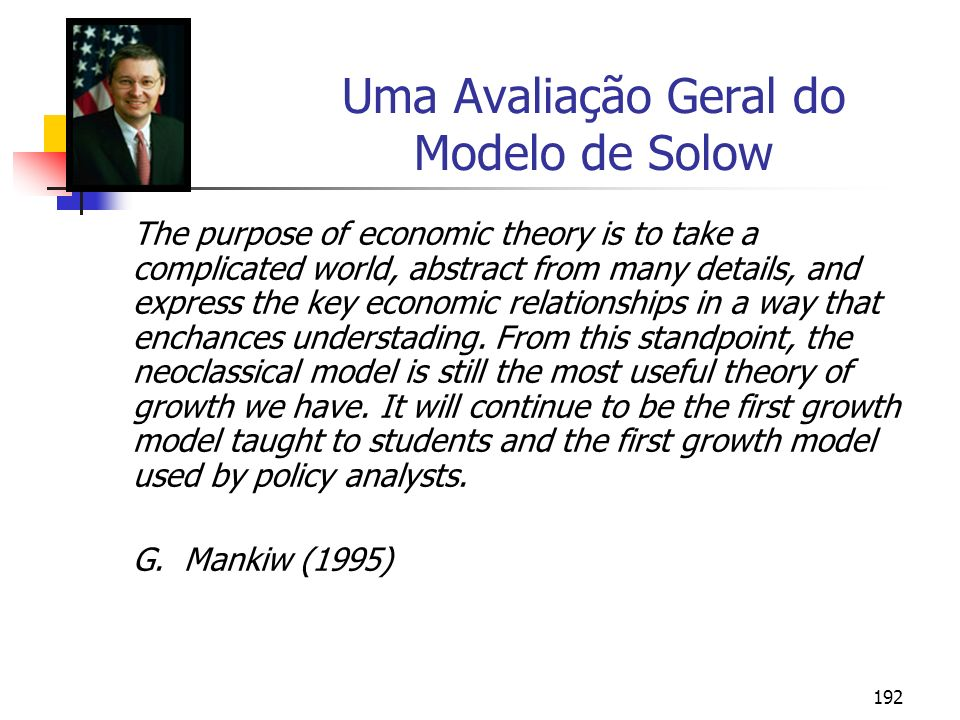 Uma Avaliação Geral do Modelo de Solow