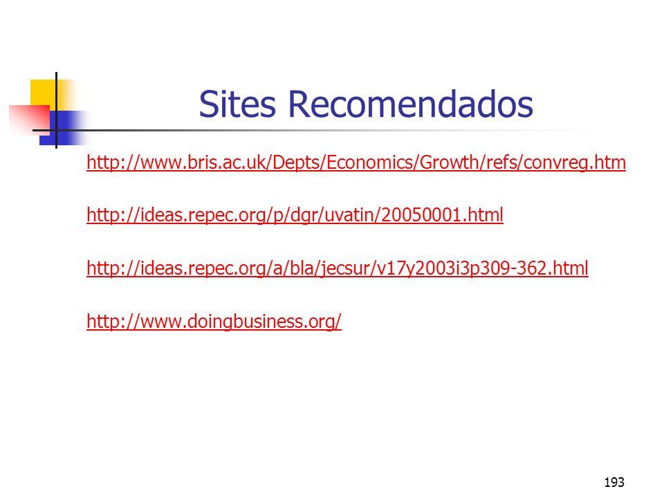 Sites Recomendados http://www.bris.ac.uk/Depts/Economics/Growth/refs/convreg.htm. http://ideas.repec.org/p/dgr/uvatin/20050001.html.