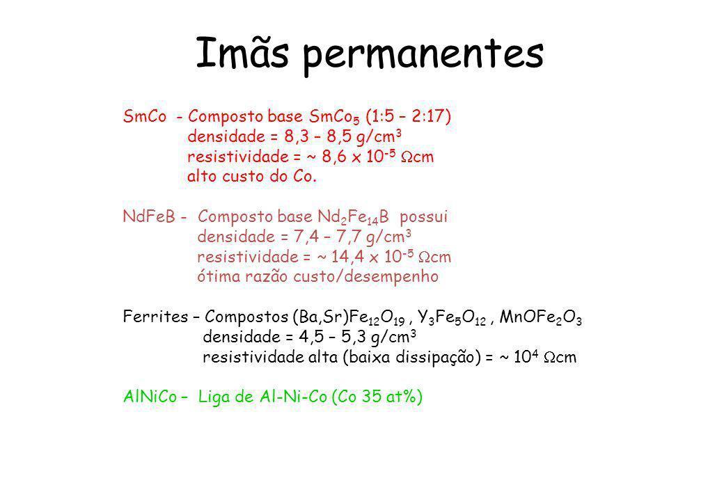Imãs permanentes SmCo - Composto base SmCo5 (1:5 – 2:17)