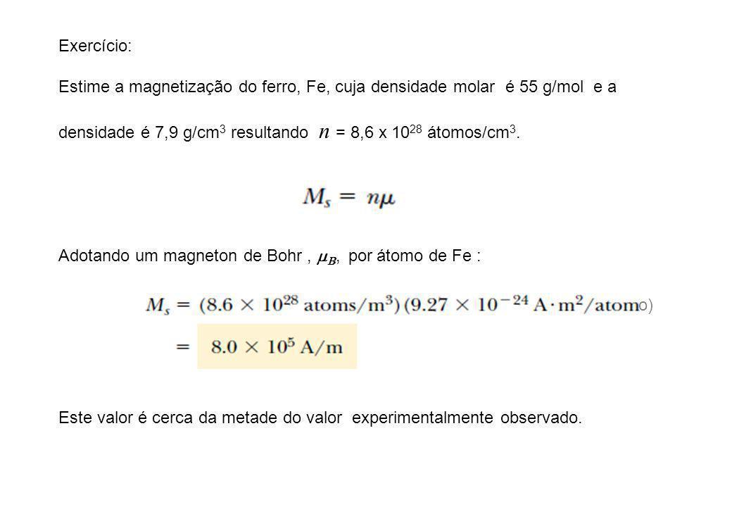 Exercício: Estime a magnetização do ferro, Fe, cuja densidade molar é 55 g/mol e a. densidade é 7,9 g/cm3 resultando n = 8,6 x 1028 átomos/cm3.