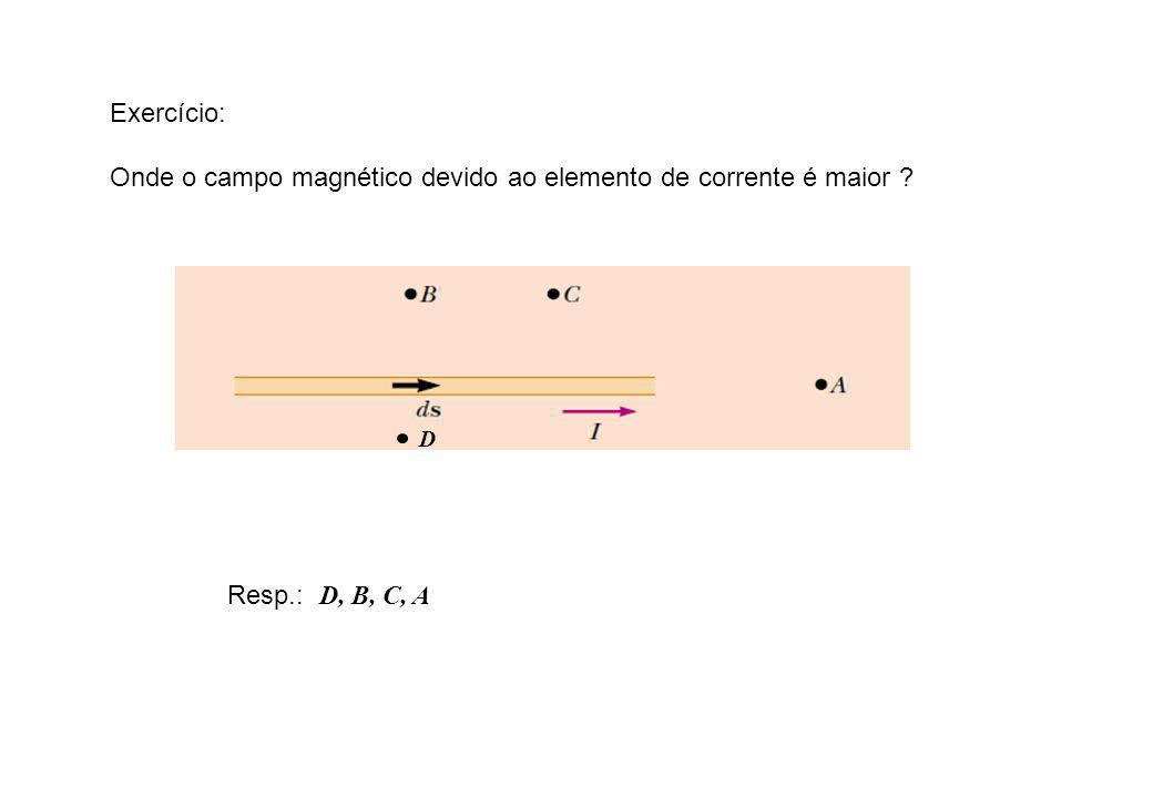 Onde o campo magnético devido ao elemento de corrente é maior