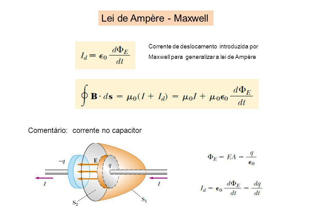 Lei de Ampère - Maxwell Comentário: corrente no capacitor