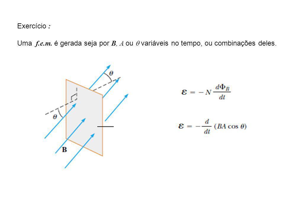 Exercício : Uma f.e.m. é gerada seja por B, A ou q variáveis no tempo, ou combinações deles.
