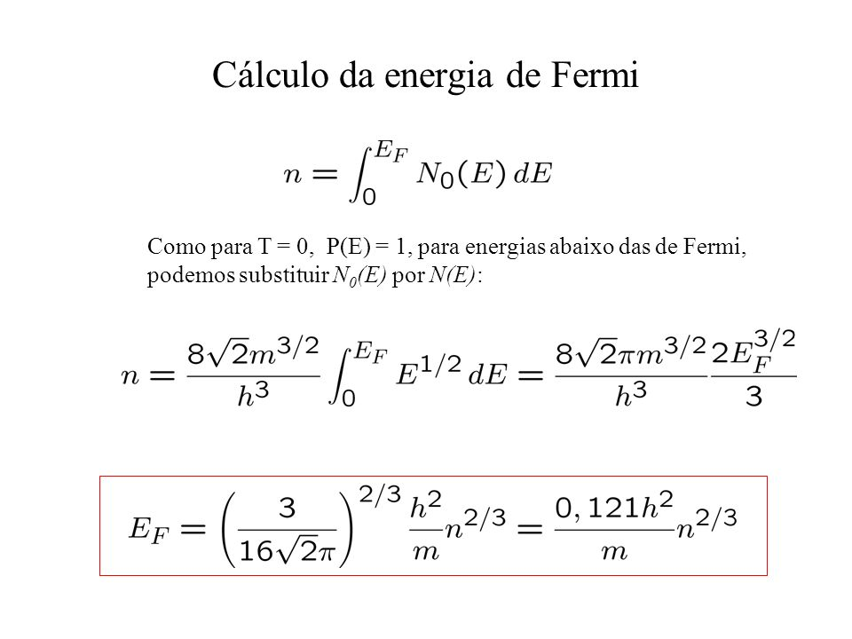 Cálculo da energia de Fermi