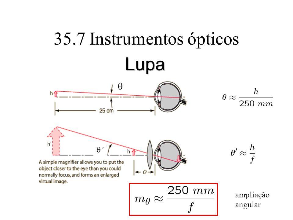 35.7 Instrumentos ópticos Lupa q q' ampliação angular