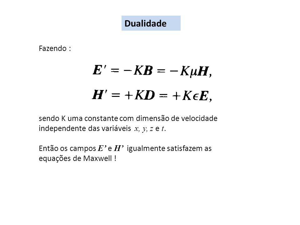 Dualidade Fazendo : sendo K uma constante com dimensão de velocidade