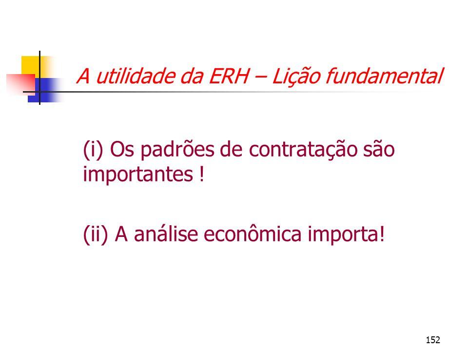 A utilidade da ERH – Lição fundamental