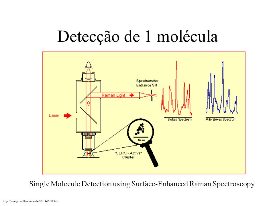 Detecção de 1 molécula Single Molecule Detection using Surface-Enhanced Raman Spectroscopy.