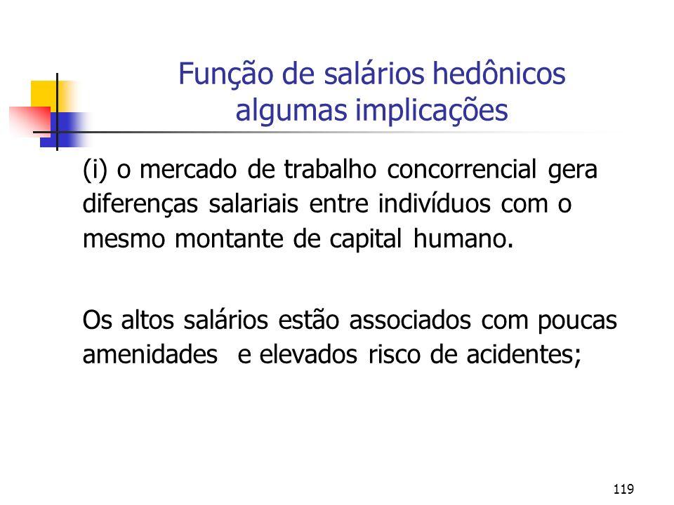 Função de salários hedônicos algumas implicações