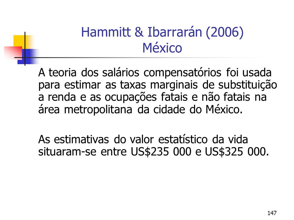 Hammitt & Ibarrarán (2006) México