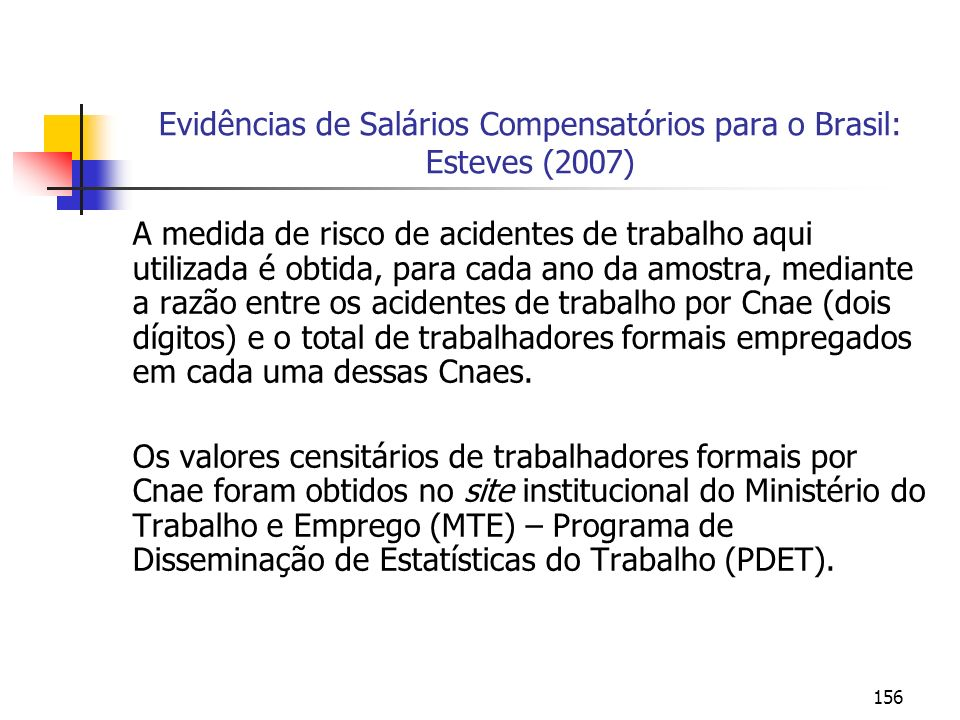 Evidências de Salários Compensatórios para o Brasil: Esteves (2007)