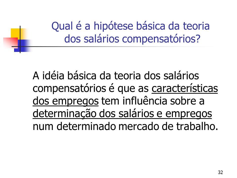 Qual é a hipótese básica da teoria dos salários compensatórios