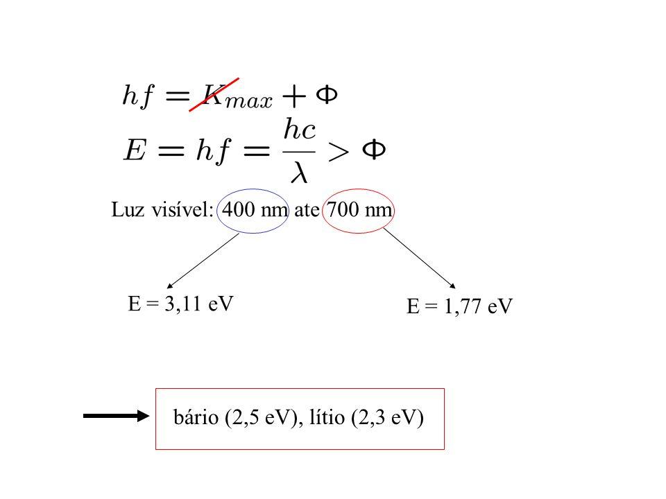 Luz visível: 400 nm ate 700 nm E = 3,11 eV E = 1,77 eV bário (2,5 eV), lítio (2,3 eV)