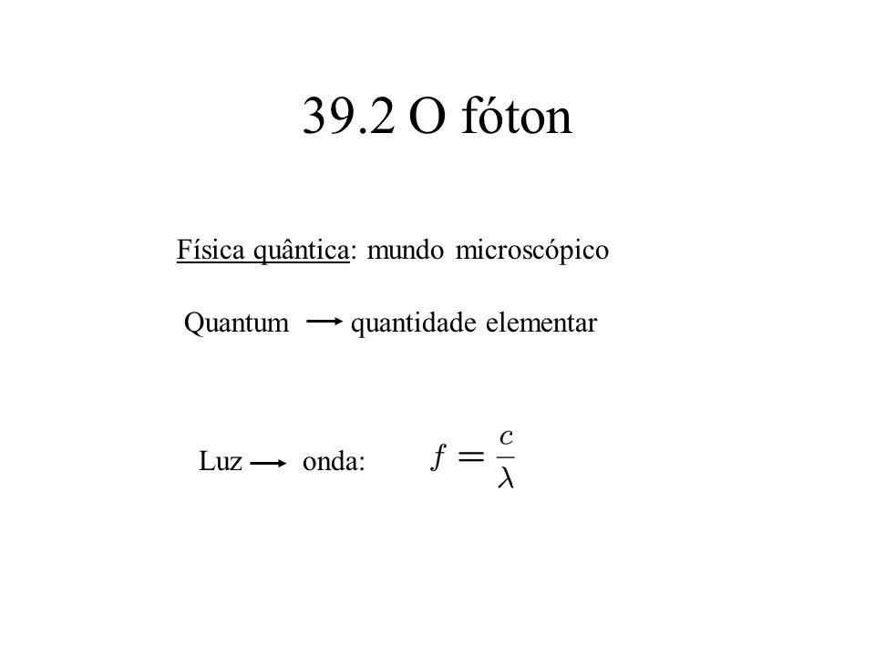 39.2 O fóton Física quântica: mundo microscópico