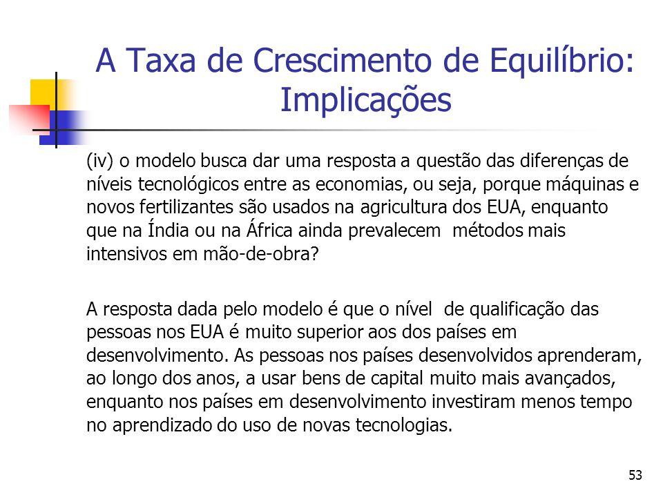 A Taxa de Crescimento de Equilíbrio: Implicações