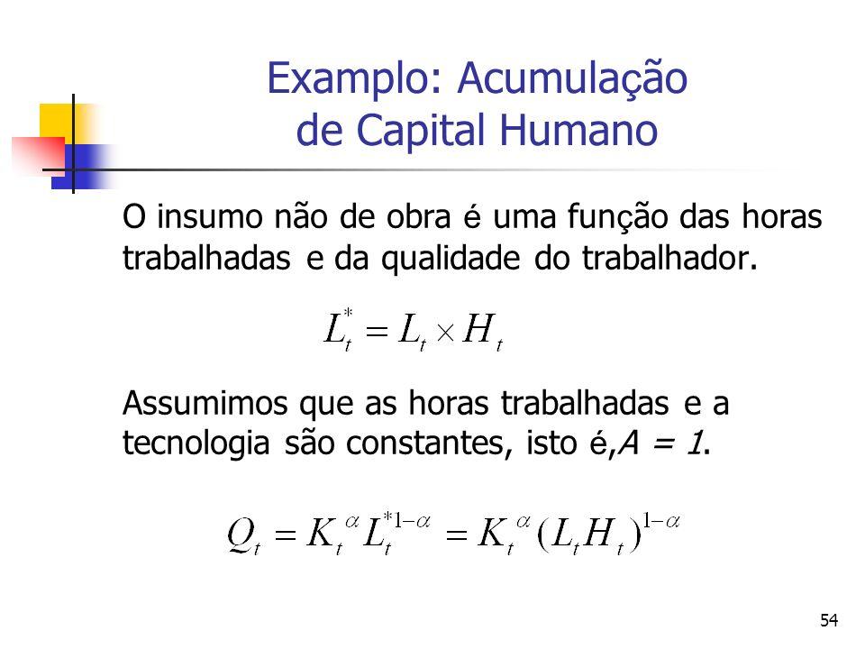 Examplo: Acumulação de Capital Humano