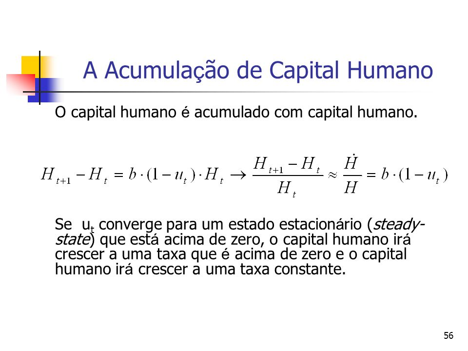 A Acumulação de Capital Humano